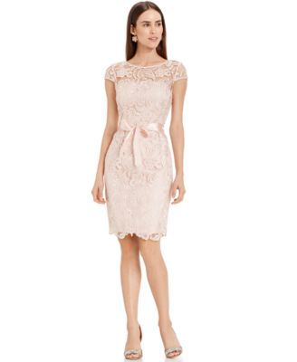 d56b2d6e4bd7 MINT COLOR OR ALMOND Adrianna Papell Lace Cap-Sleeve Illusion Sheath Dress