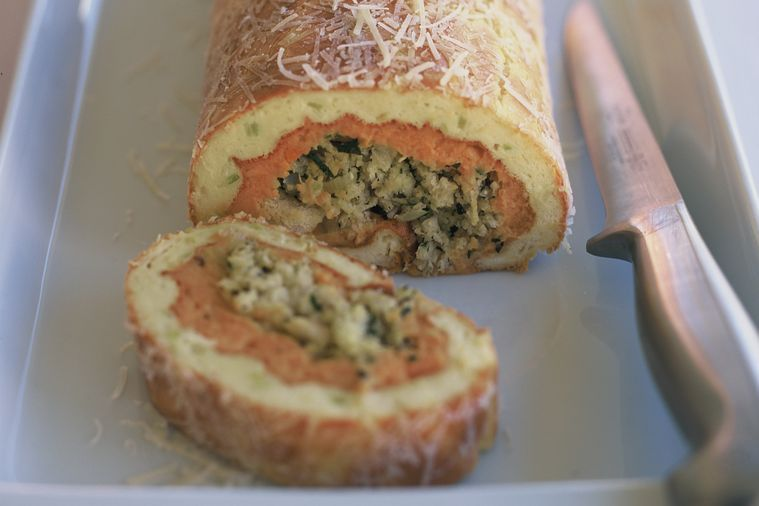 Sweet potato and leek roulade with Xmas stuffing