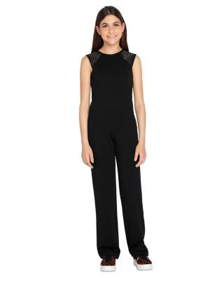 Sally Miller Girls' Charlotte Textured Jumpsuit - Big Kid - Black #sallymiller