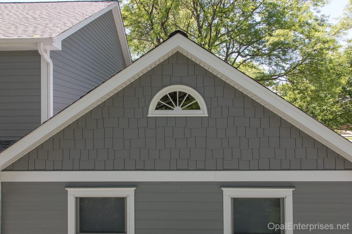 James Hardie Fiber Cement Siding In Gray Slate Plank Shake Styles With Arctic White Trim Grey Exterior House Colors Exterior House Colors House Exterior