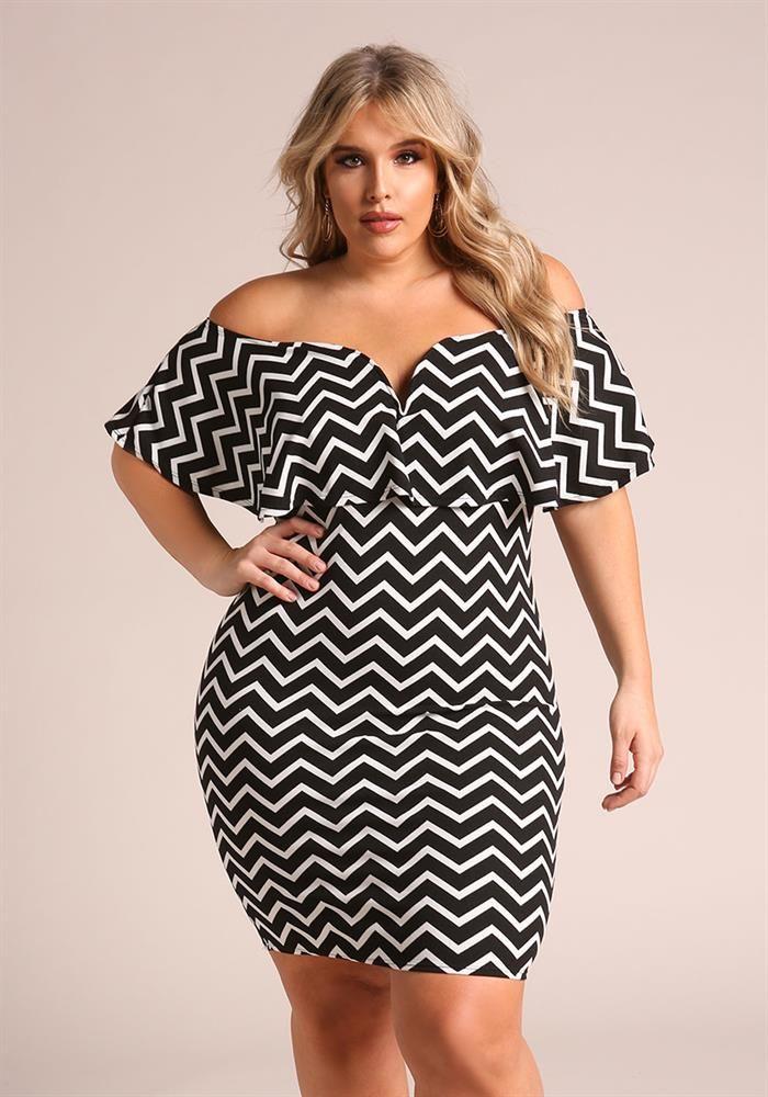 Plus Size Clothing Plus Size Chevron Off Shoulder Bodycon Dress