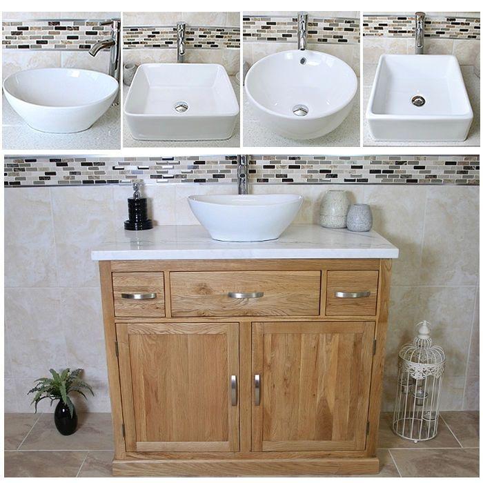Bathroom Vanity Unit Oak Wash Stand White Marble