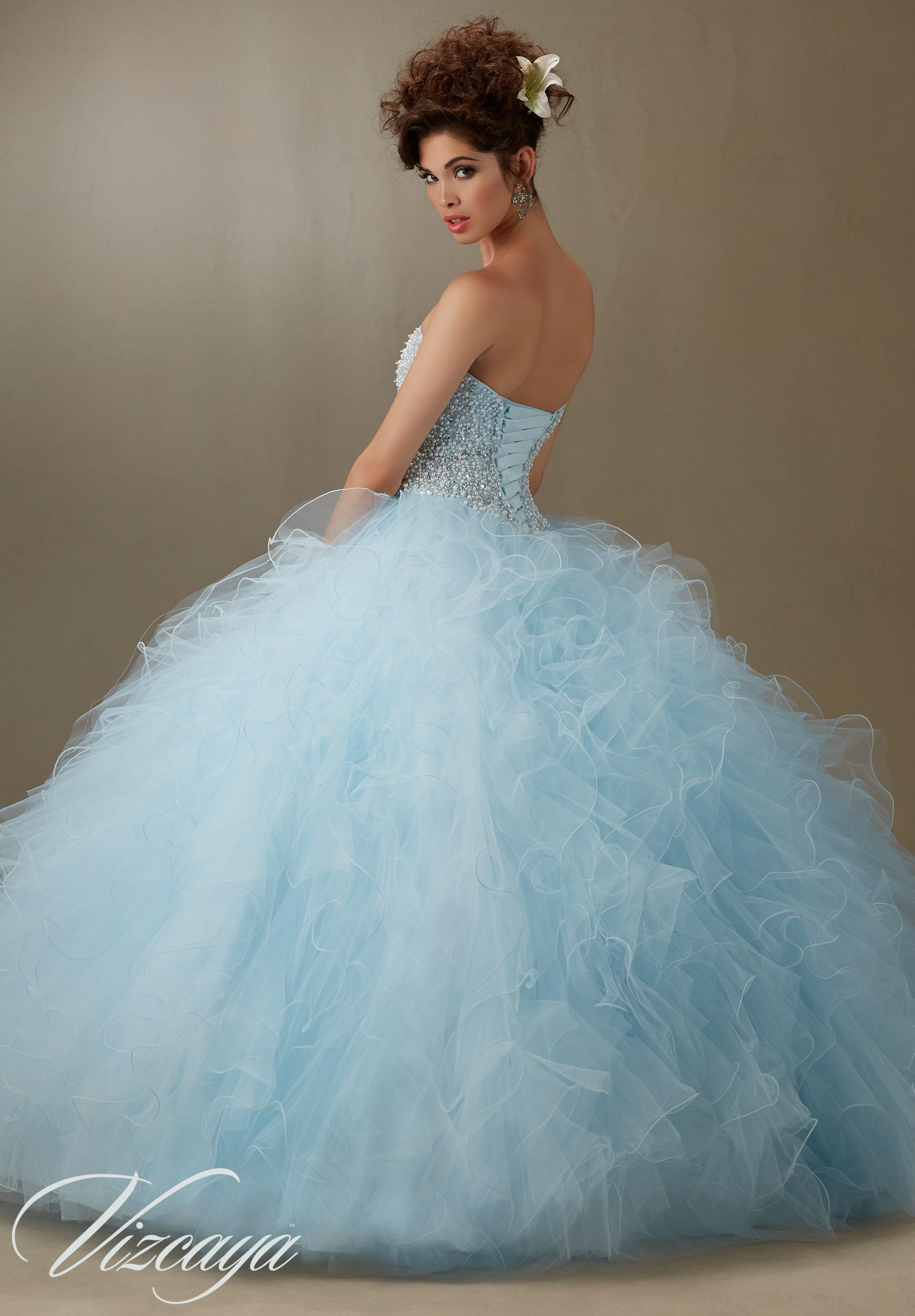 Pearl Beaded Bodice On Light Blue Ruffled Tulle Princess Ball Gown Quinceane Quinceanera Dresses Blue Pretty Quinceanera Dresses Light Blue Quinceanera Dresses [ 2636 x 1834 Pixel ]
