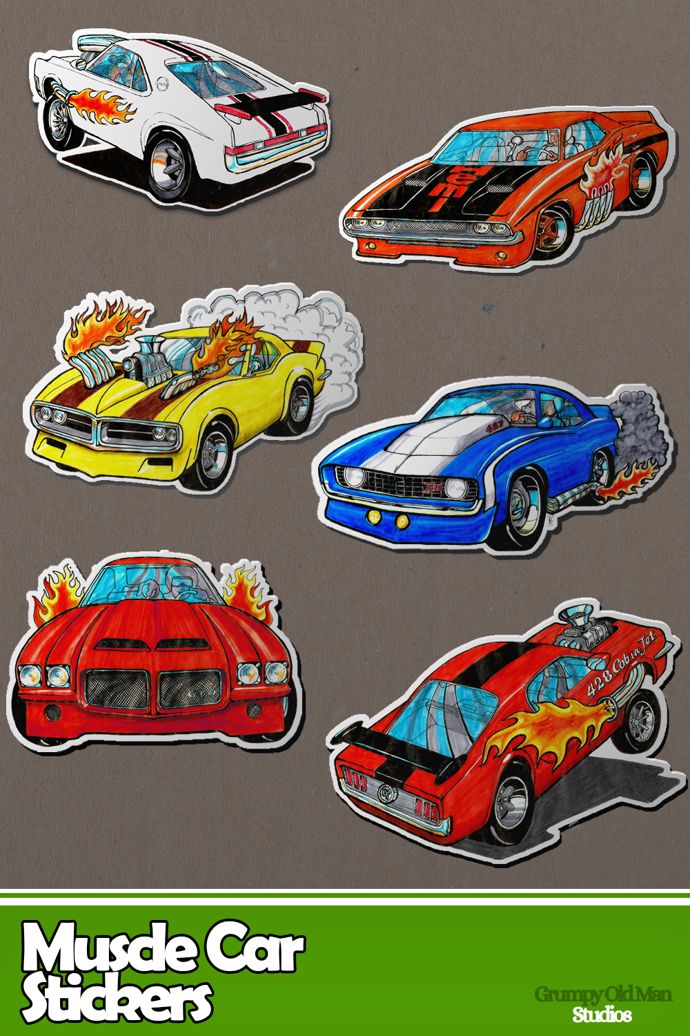 Classic Muscle Cars Sticker Sheet Sticker By Grumpy Old Man Classic Cars Muscle Ford Classic Cars Muscle Cars [ 1500 x 1000 Pixel ]