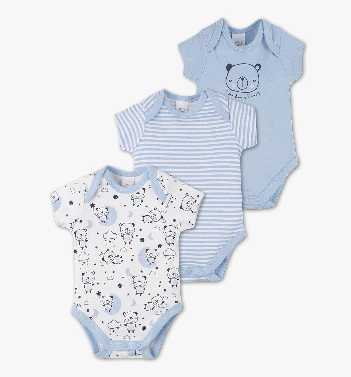 9€ - maat 86 - Set met 3 babybody's van biokatoen in wit / lichtblauw - C&A