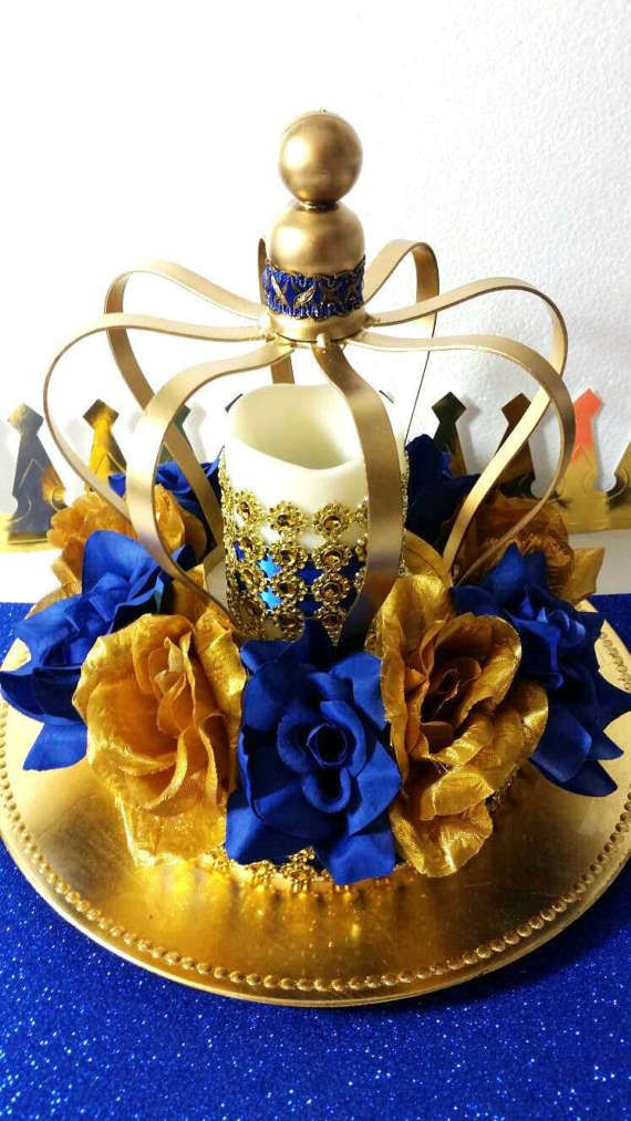 Crown Royal Prince Baby Shower Centerpiece / Boys Royal Blue And Gold Baby  Shower Theme And Prince Party Decorations