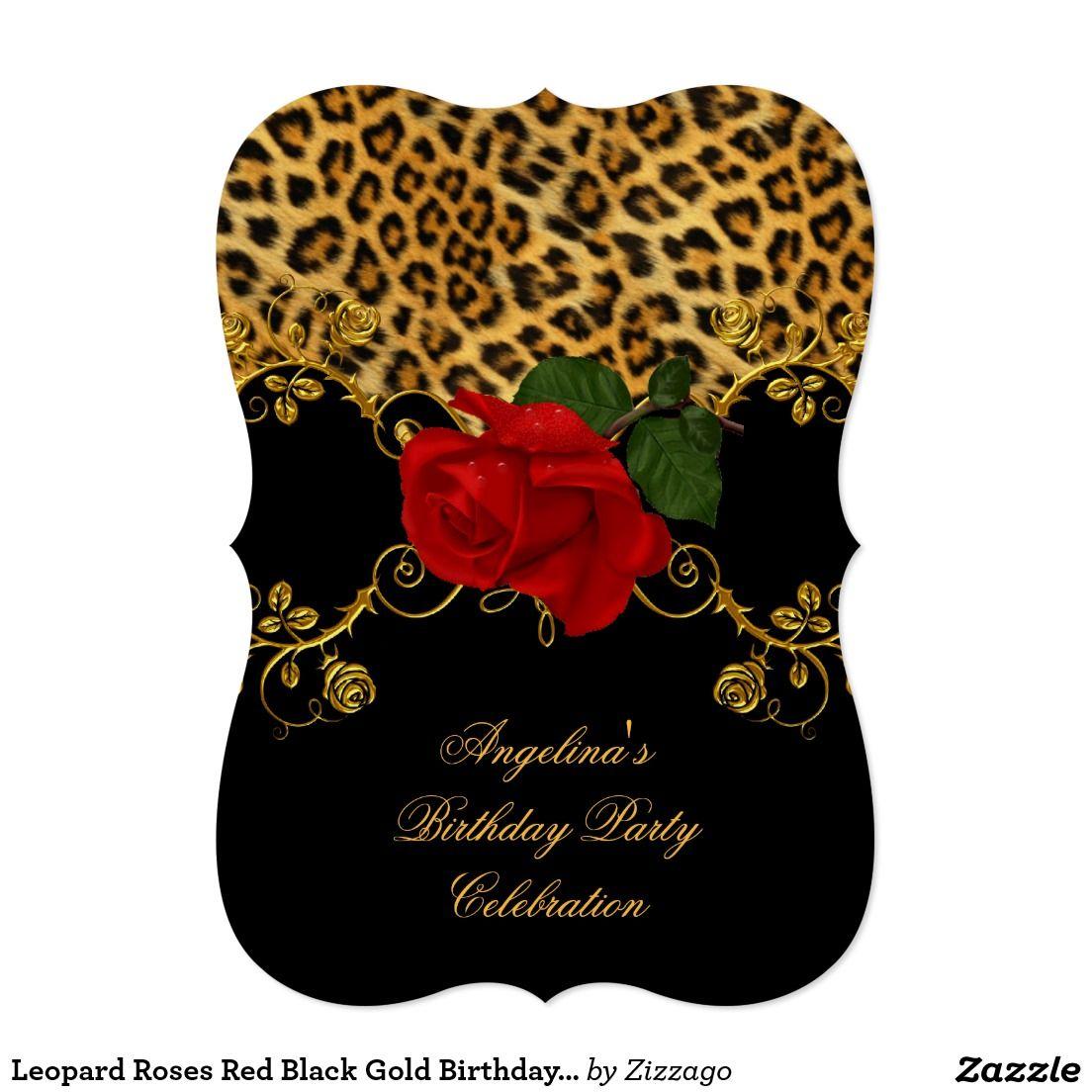 Leopard Roses Red Black Gold Birthday Party 2 Card | bebek ...