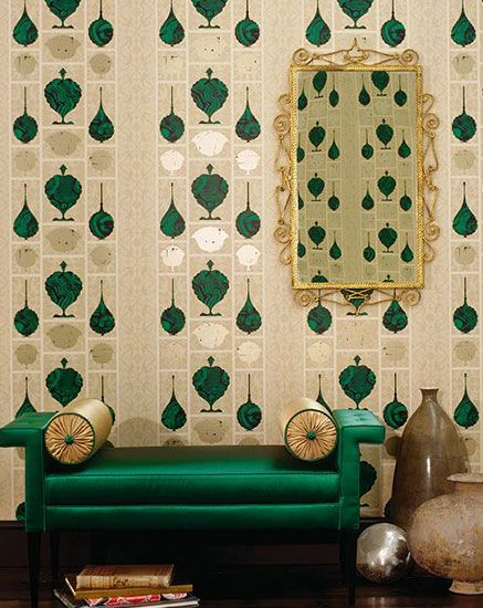 The Japanese interior design style in #silk #emerald green, posted by Ethnic Chic