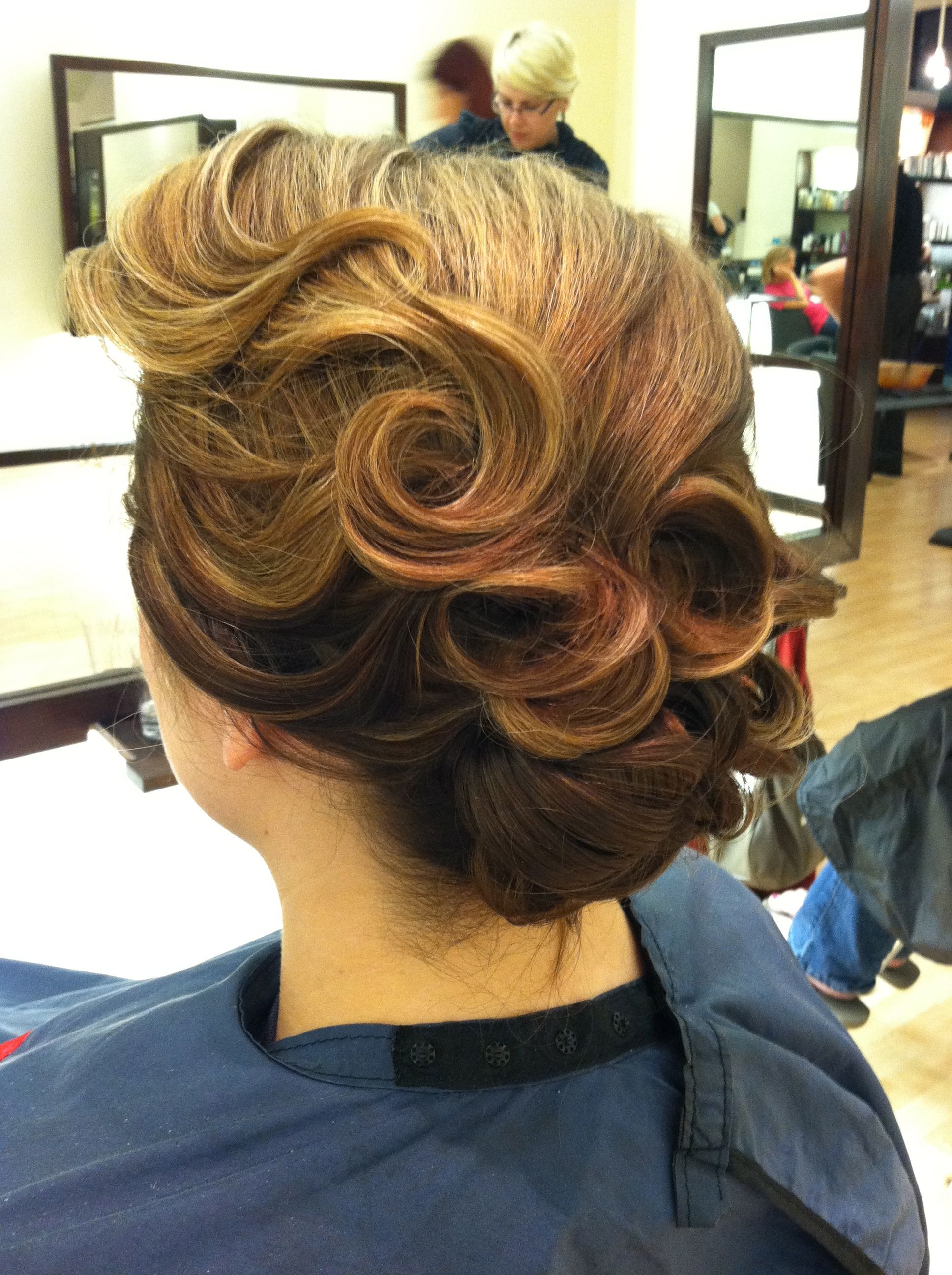 Fun 40's style inspired updo on bride. So much fun to do!