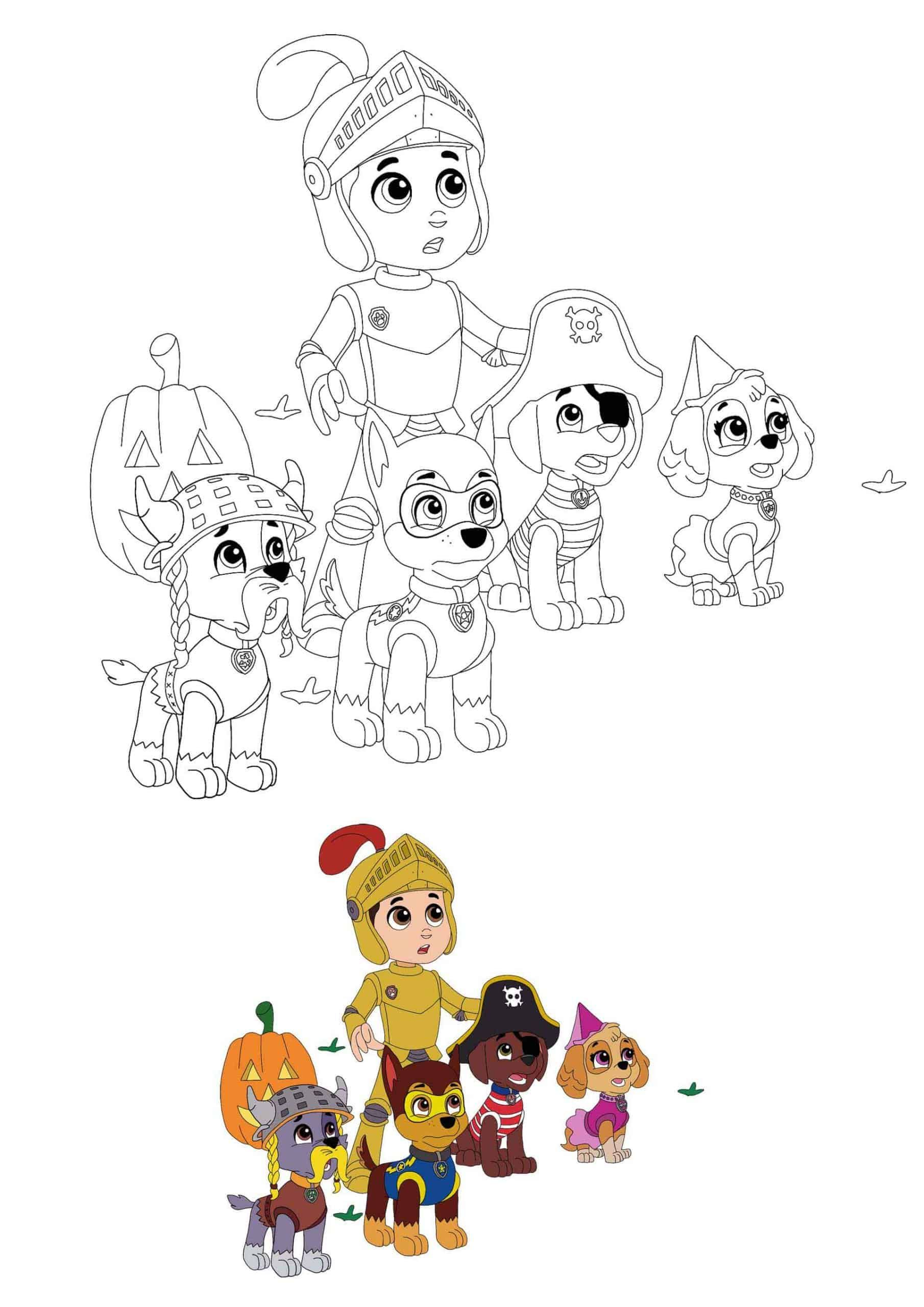 Paw Patrol Halloween Coloring Pages in 2020 | Halloween ...