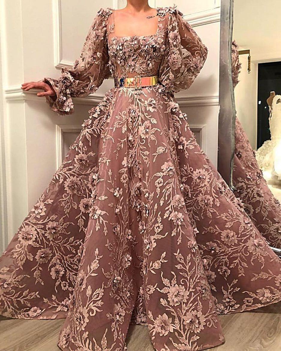 Square Neck Floor-Length Purple Applique Prom Dress, BW93827