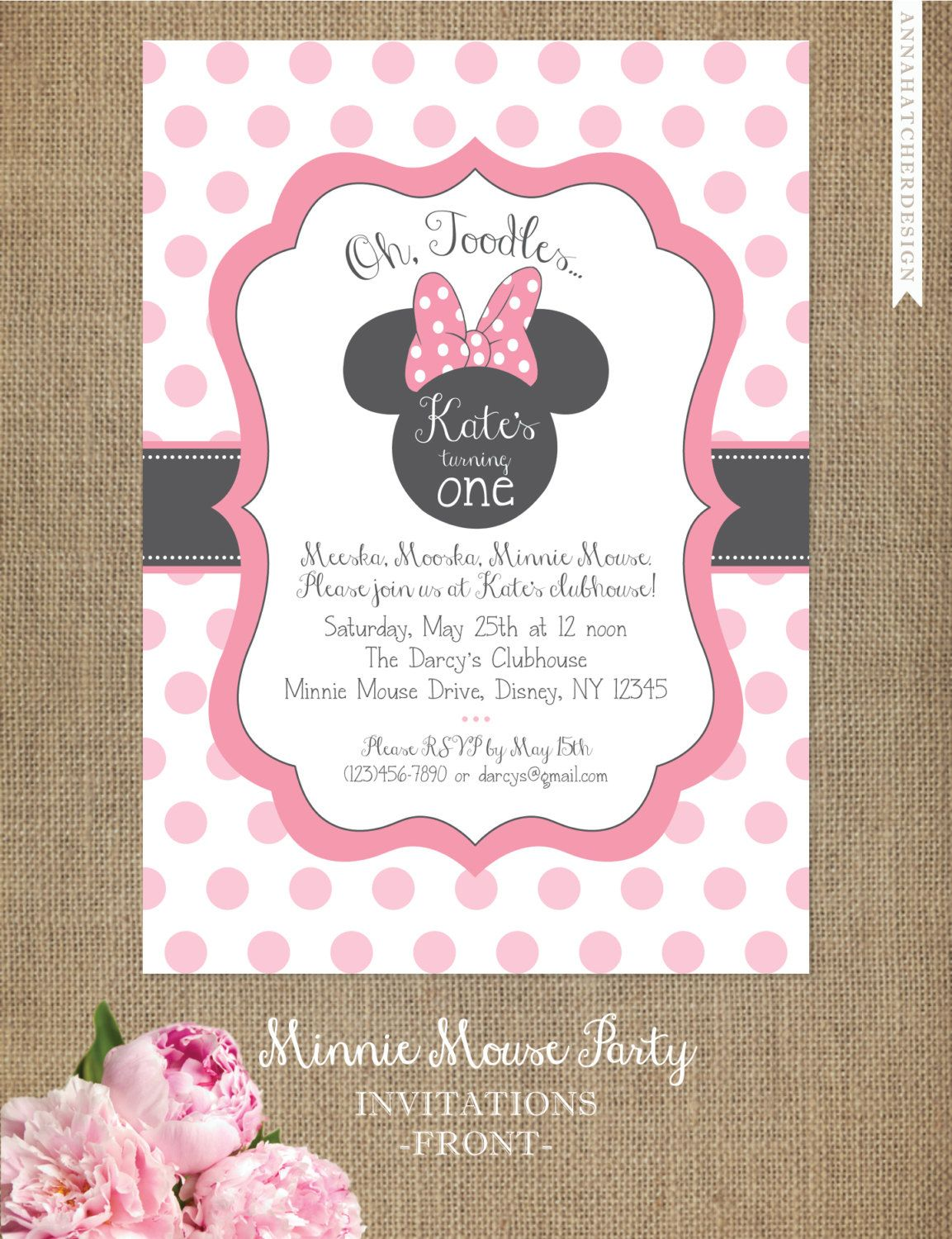 Minnie Mouse Invitation Editable Birthday Template Pink