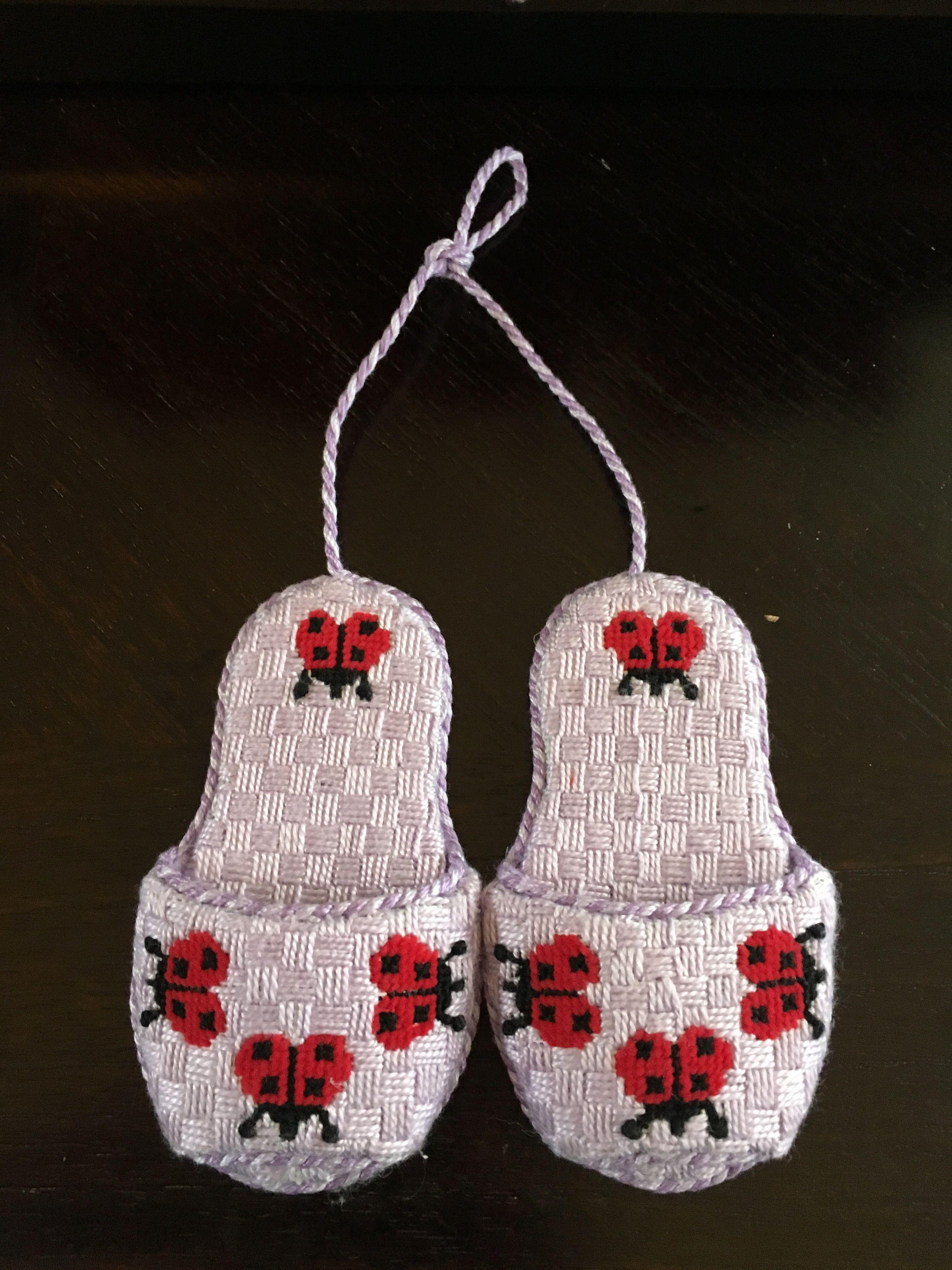 Ladybug Slipper Needlepoint Ornament, Designer Unknown