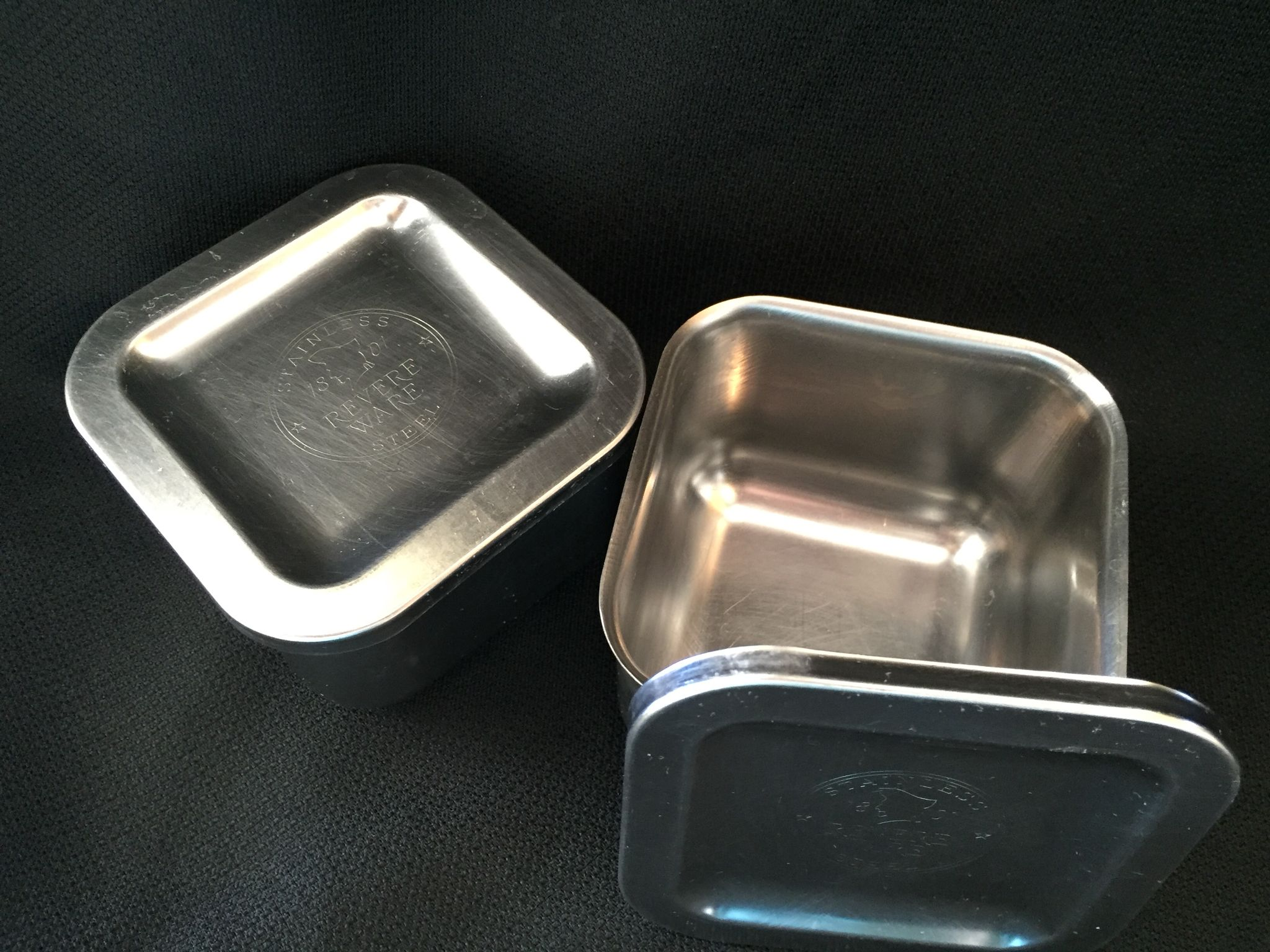 Vintage 1950 Revere Ware Refrigerator Stainless Steel Storage Containers