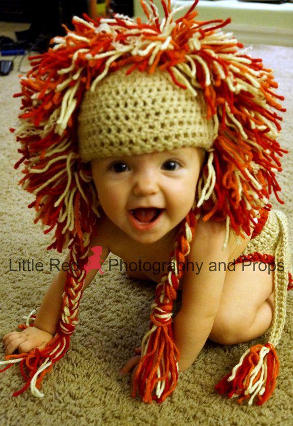Adorable Crochet baby Lion Hat and Diaper cover | León, Gorros y Tejido