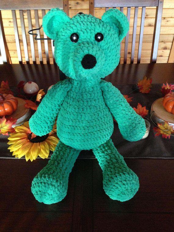 Crochet Stuffed Teddy Bear PATTERN Big - Soft Bernat Blanket Wool ...