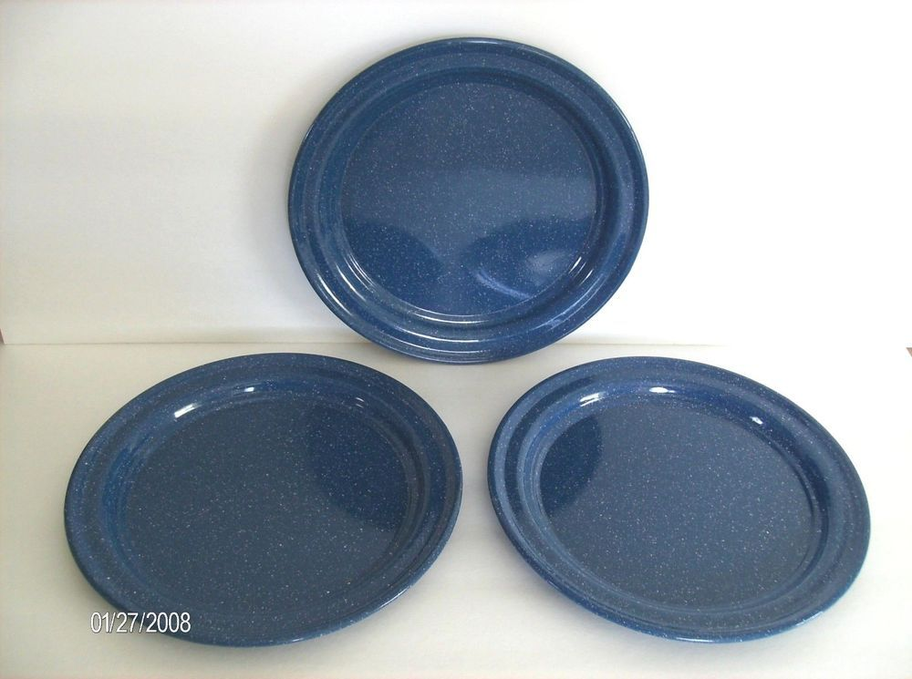 three  3 blue white ENAMELED TIN SPATTER WARE 10 INCH PLATES