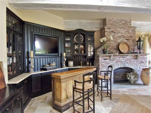 Basement bar area with tv built in fireplace b a s e m - Built in bar ideas ...