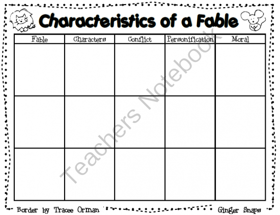 Fable Graphic Organizer from Ginger Snaps on TeachersNotebook.com -  (1 page)