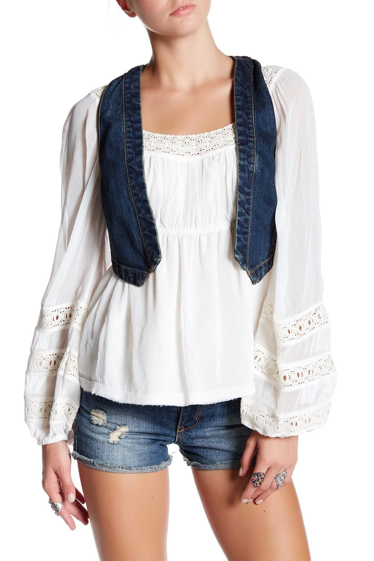 Free People Micro Woven Denim L Vest. Free shipping and guaranteed authenticity on Free People Micro Woven Denim L VestDetails  - Open front  - Sleeveless  - Seam detail...