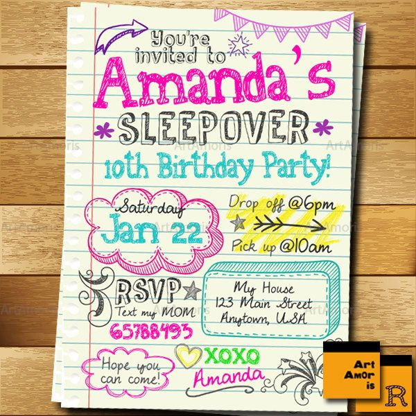 Sleepover invitation doodle teen notebook sleepover invitation birthdays sleepover invitation stopboris Image collections
