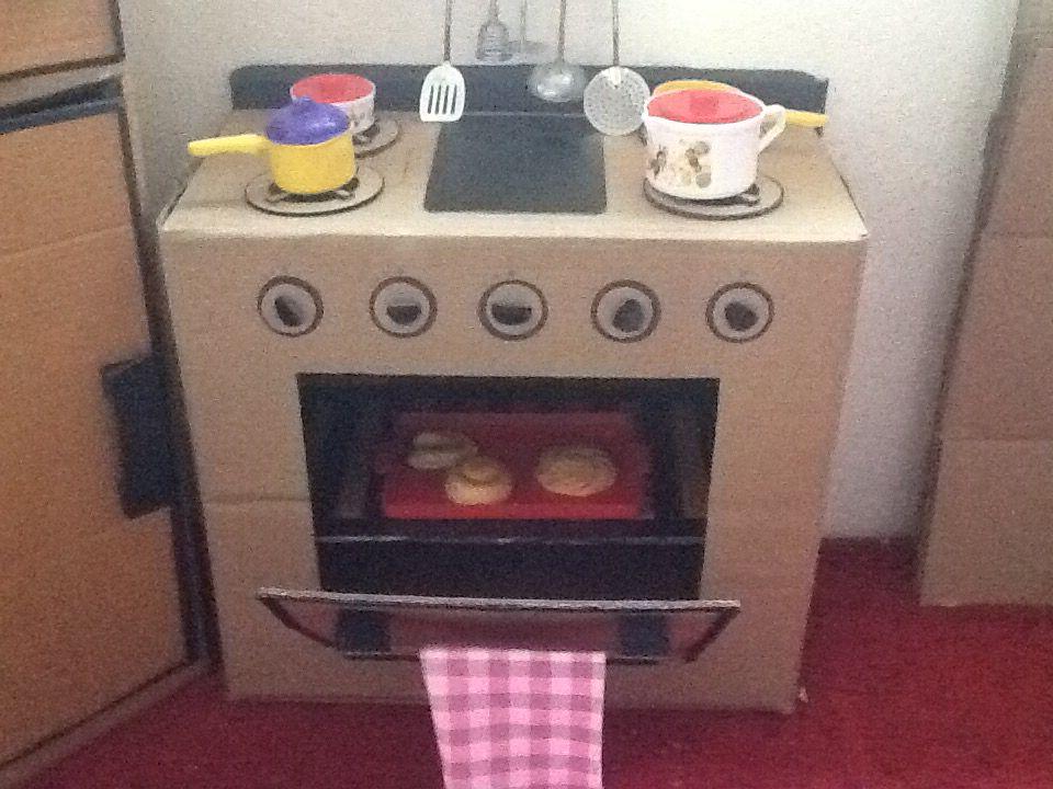 Estufa de cart n manualidad pinterest estufas for Cocina de carton