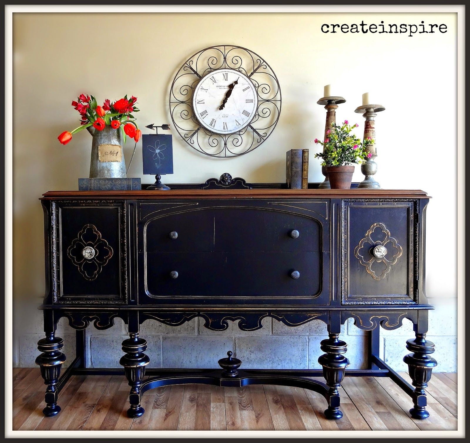 Admirable Createinspire Antique Buffet In Black Painting Furniture Interior Design Ideas Helimdqseriescom