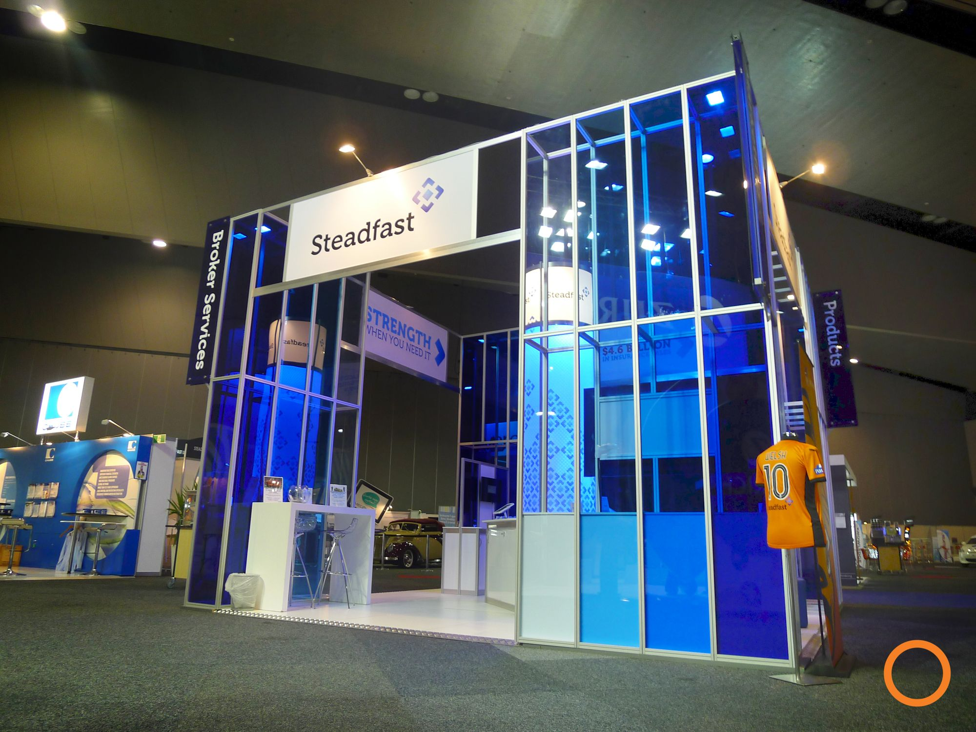 Exhibition Stand Framework : Exponet build the steadfast custom stand with octanorm and