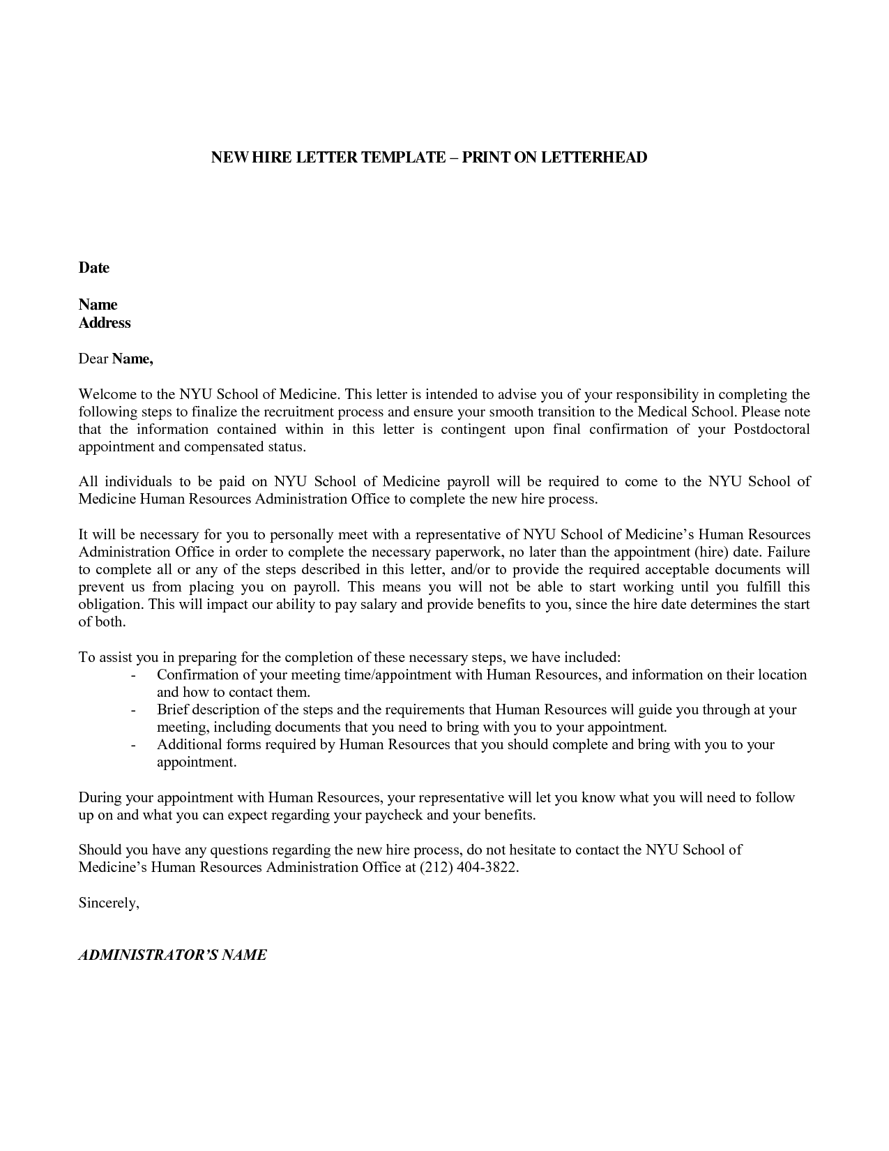 New Employee Letter Template Letter templates