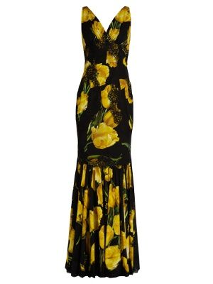 Lace-trimmed tulip-print silk-blend gown Dolce & Gabbana Cheap Latest Collections Low Shipping DZE3NDuS