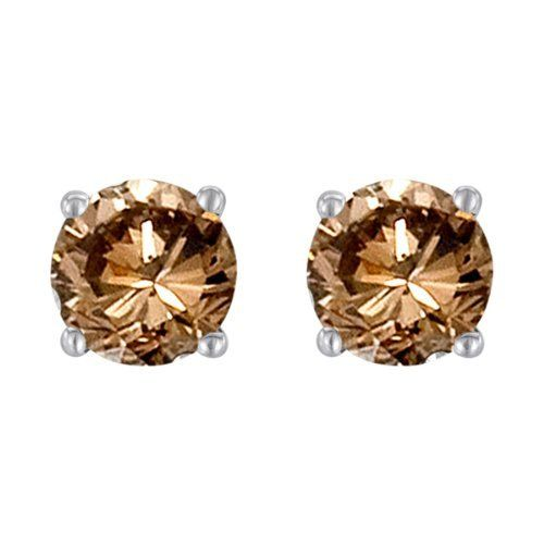 Chocolate Diamond Stud Earrings Conflict Free Round 1 2 Carat Tw I1 I2 Clarity