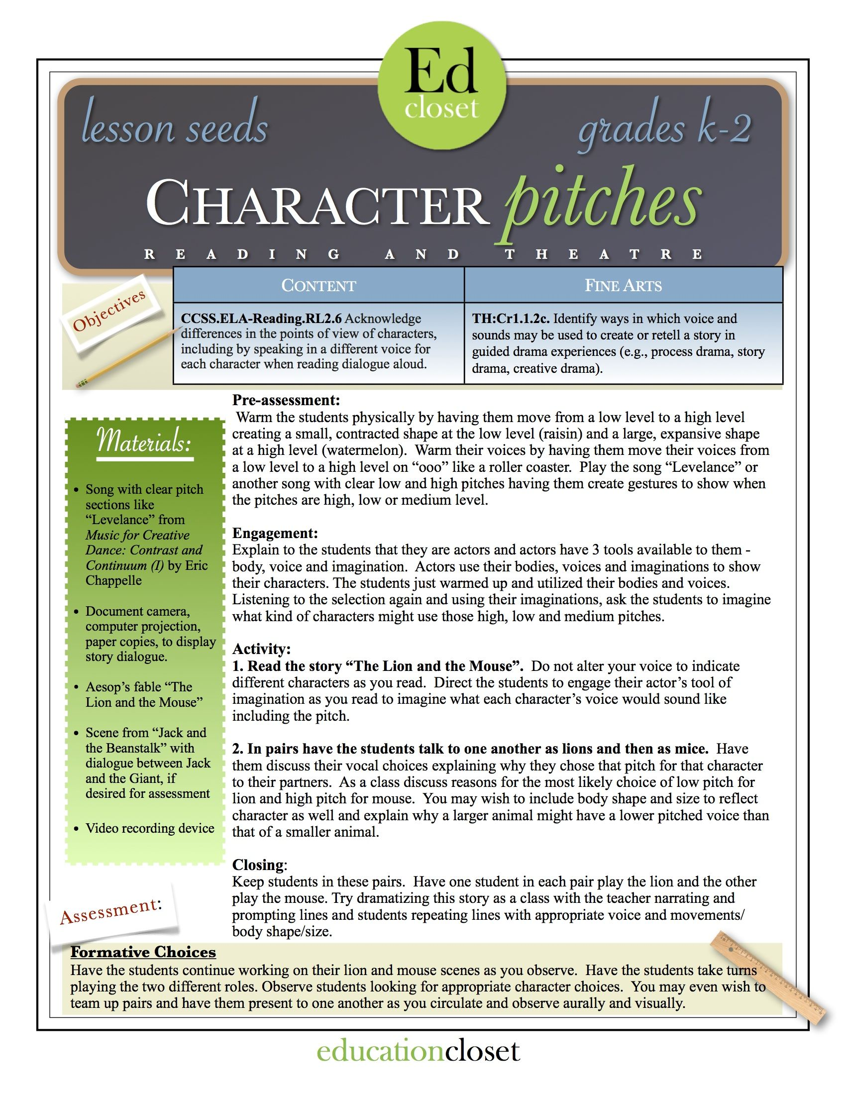 Character Pitches Arts Integration Lesson