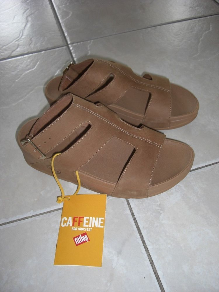 womens fitflop sling leather tan and orange