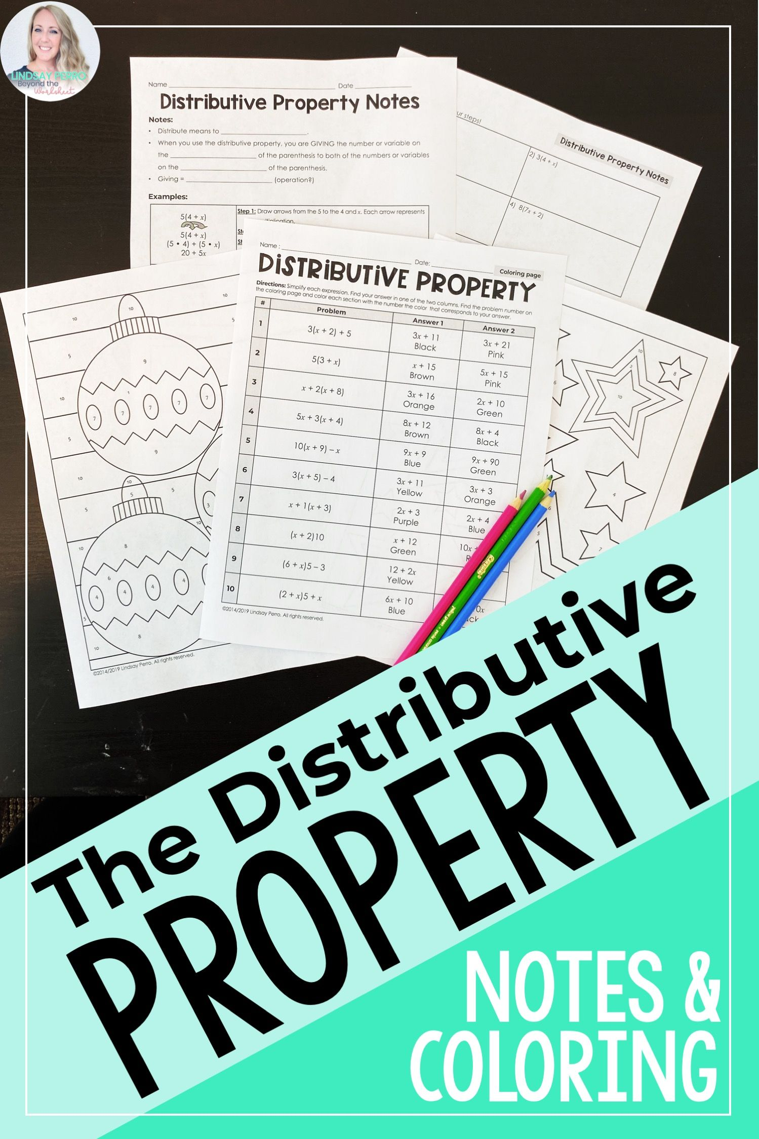 Distributive Property Notes Amp Coloring Page