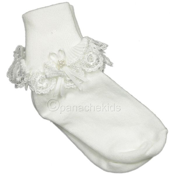 Country Kids White Ankle Sock Lace Pearl Trim ($12) ❤ liked on Polyvore featuring socks and baby