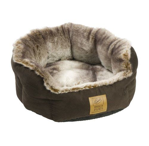 Archie Oscar Bakewell Pet Bed In Brown And Grey Snuggle Dog