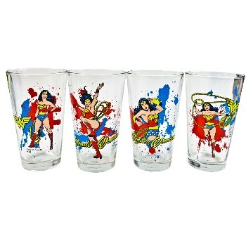 For those who need some girl power, these four 16 oz. pint glasses feature Wonder Woman in different colorful depictions. From whipping her lasso to deflecting bullets with her cuffs, this DC Comics hero will give some extra kick to your beverages. Dimensions: 5.75 in H x 16 in D