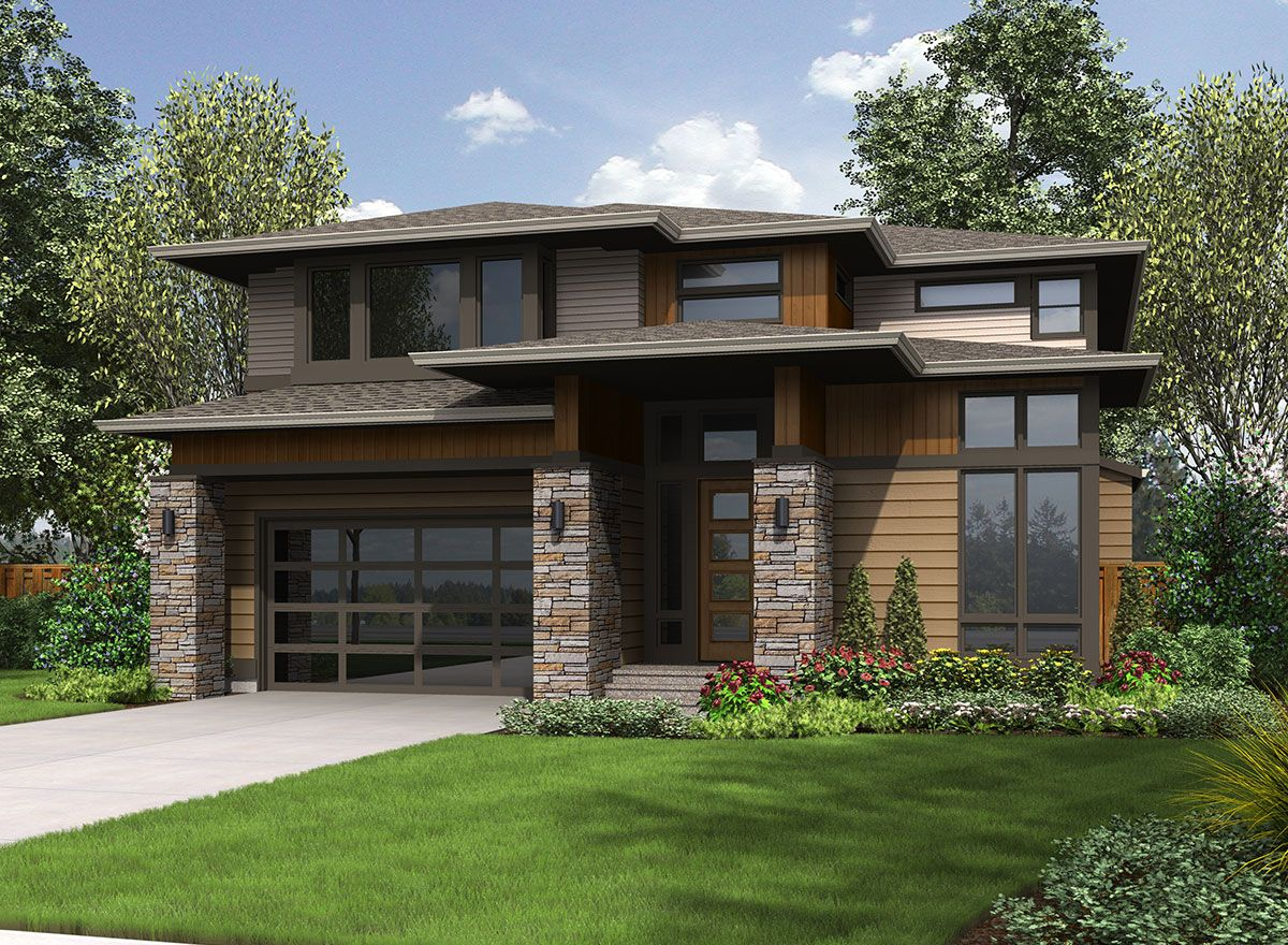 Big and bright prairie style house plan 23607jd 2nd for Prairie style house plans