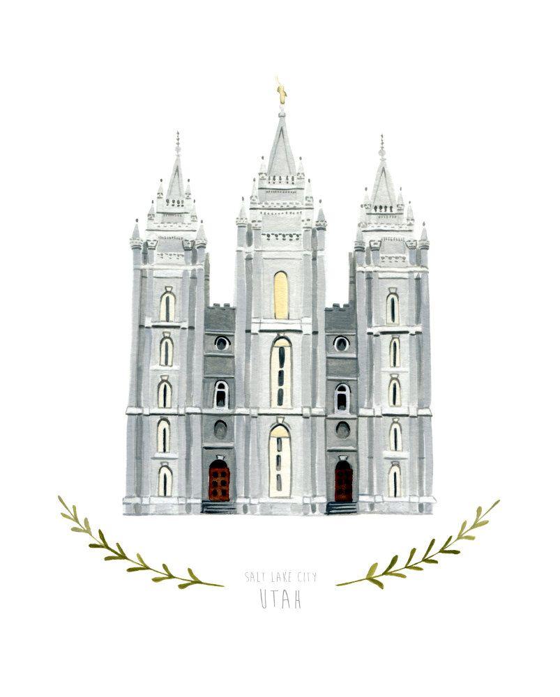 Salt Lake City Utah LDS Temple Illustration