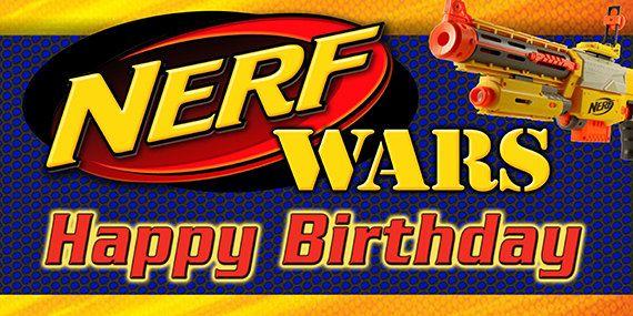 Nerf Wars Birthday Banner Blue Background Boy Parties In
