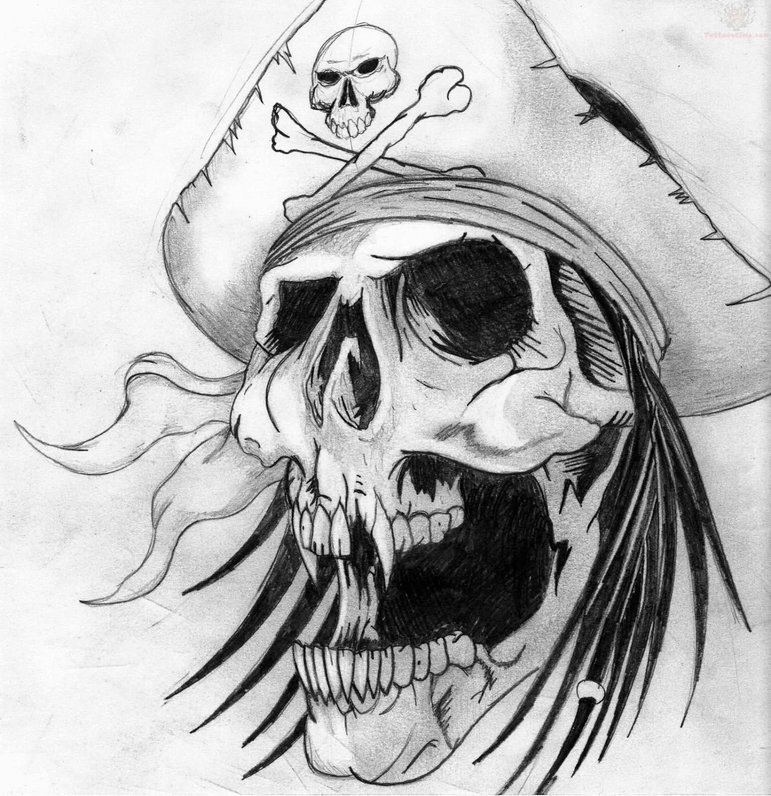 Grey Ink Design Pirate Skull Tattoo Design | Art ...