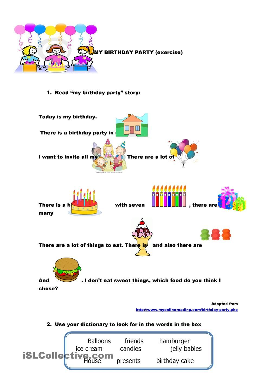 my bithday party Vocabulary worksheets, Vocabulary