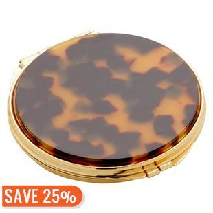 Round Compact Mirror - Faux-Tortoise - Gold by Indigo | Travel Essentials Gifts | chapters.indigo.ca