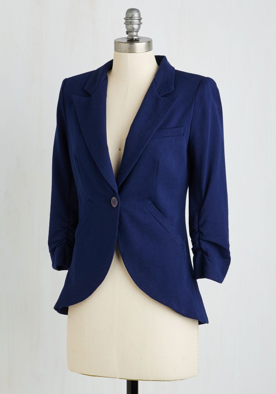 f361bb5de Fine and Sandy Blazer in Navy. No need to roll up your sleeves before the  big meeting - this one-button blazer boasts ruched 3/4-length sleeves for a  look ...