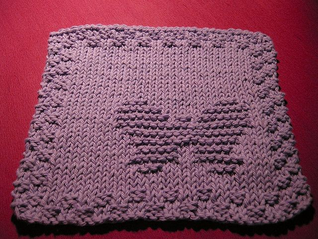 Butterfly Dishcloth Knitted Washcloth Patterns Knitted Washcloths