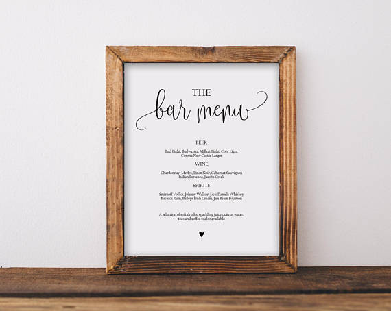 Bar Menu Sign Template Wedding Printable Inst
