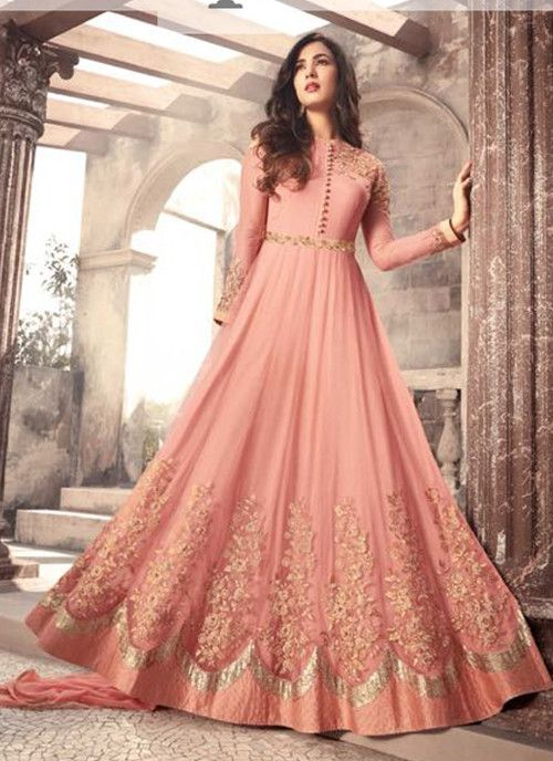 5d69fbd71 Fantastic  Peach  Net  Embroidered Long  Anarkali  Suit