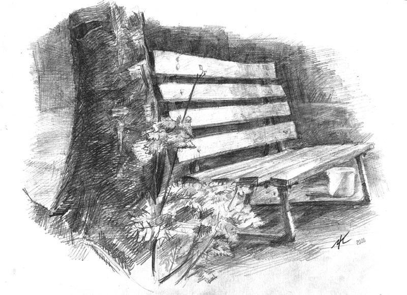 Рисунок лавочка в парке