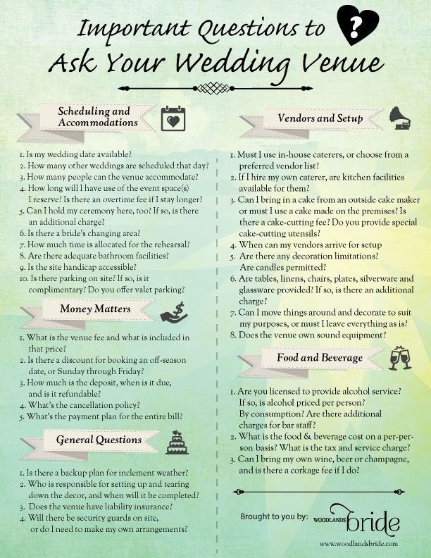 graphic about Questions to Ask Wedding Venue Printable named Thoughts in the direction of talk to a marriage ceremony location Printables inside of 2019