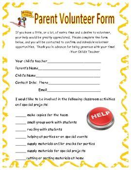 Volunteer Sign Up Form School Pto Pta Volunteer Pta Membership